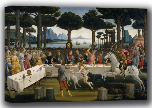 Botticelli, Sandro: The Story of Nastagio degli Onesti III. Fine Art Canvas. Sizes: A4/A3/A2/A1 (001885)